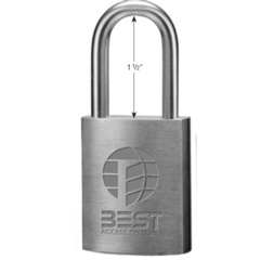 Best Access Systems 21B722 Special Order 1-1/2 Shackle Brass Padlock for Best IC Core - Special Orders