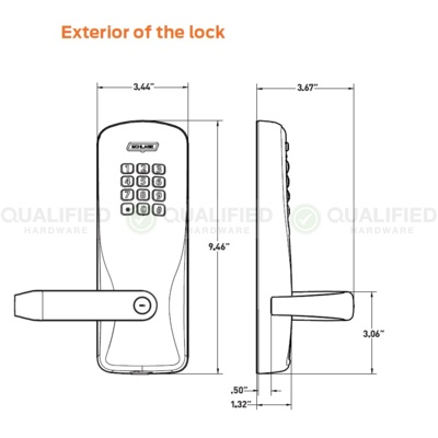 Schlage CO-100-993M-70-KP-RHO-626-PD Special Order Electronic Digital Pushbutton Exit Device Lock - Special Orders image 3
