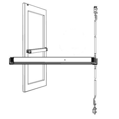 Adams Rite 8600-C-42 Special Order Narrow Stile Concealed Vertical Rod Exit Device with Cylinder Dogging - Special Orders