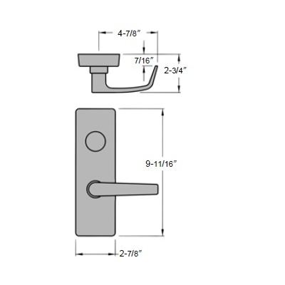 Special Order Entry Lever Trim for Olympian Cross Bar Exit Device