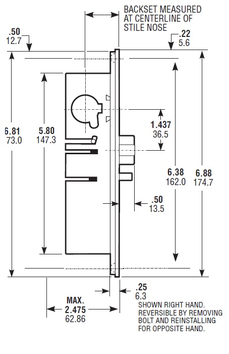 The backset is the measured distance from the edge of a door to the center of the cylinder.  sc 1 st  Qualified Hardware & Adams Rite 4900 - Store Front Aluminum Door Hardware - Commercial ...
